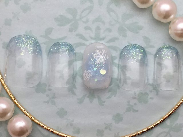 ラメグラ×チーク結晶