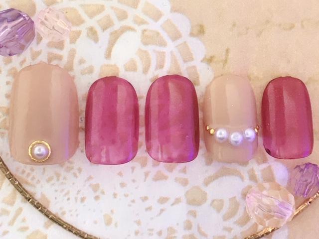ピンク×ベージュ×パール
