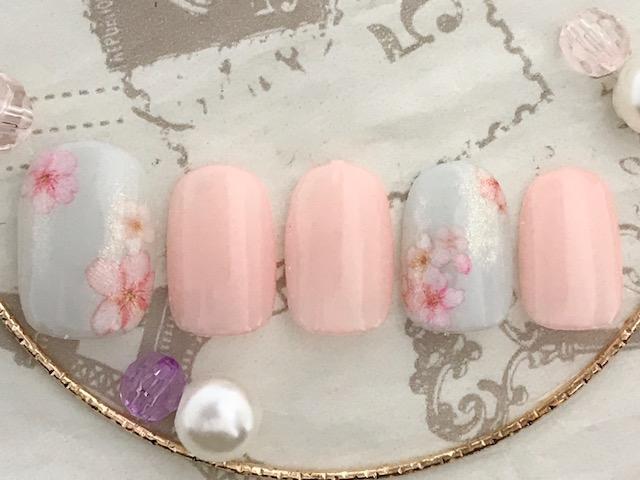 シアーカラー×桜×ラメ