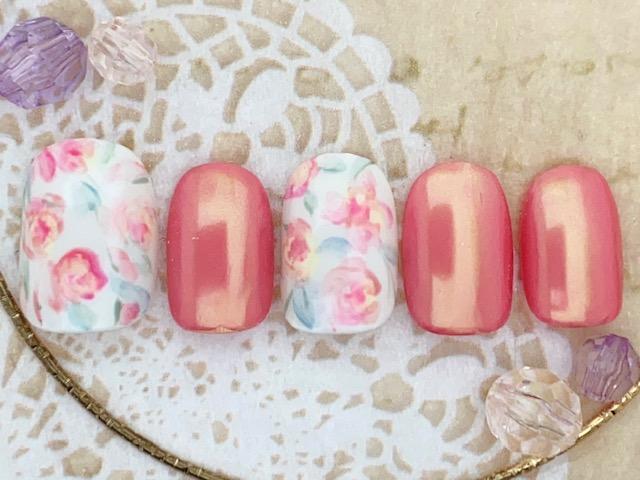 手描きバラ×ピンク×ミラー
